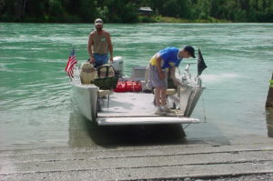 The Last Frontiersman's Handicap accessible boat, perfect for folks with wheelchairs who want to fish the Kenai River.